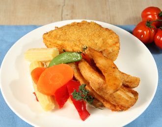 Chicken Kiev with Wedges and Vegetables