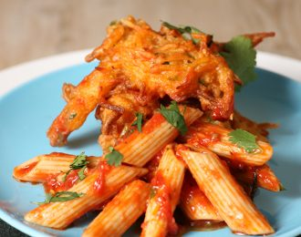 Vegan Penne Noodles with Coriander, Tomato Sauce & Carrot Fritters