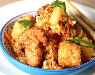 Vegan Coconut Tofu & Mushrooms with Pineapple Fried Rice
