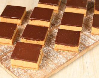 Gluten Free Chocolate Caramel Tray Cake