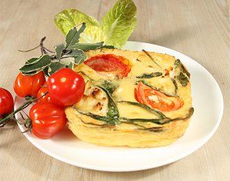 Gluten Free Goats Cheese, Tomato & Spinach Quiche (single serve)
