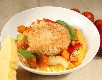 Roast Vegetable Pattie with Tomato Risotto & Vegetables