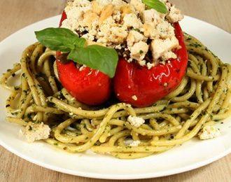 Vegan Lentil Filled Capsicum & Roquette Pesto Spaghetti