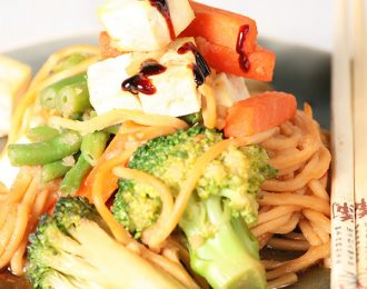 Vegan soy and ginger stirfry hokien noodles with tofu