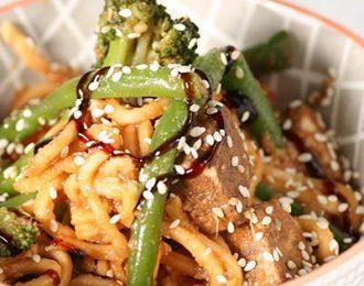 Vegan stirfy hoisin noodles and spiced tofu