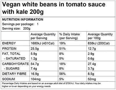 Nutritional Information. Ingredients: Cannellini Beans (47%), Crushed Tomato (25%) (Tomatoes, Tomato Juice, Acidity Regulator (330 Citric Acid)), Pumpkin, ...